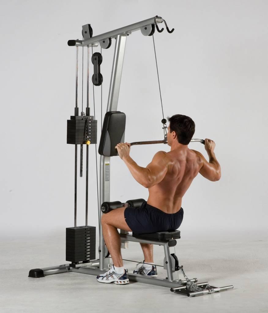Een van de beste en oudste rugoefeningen is de lat pulldown. de tuff stuff clm 855ws lat machine is de ...