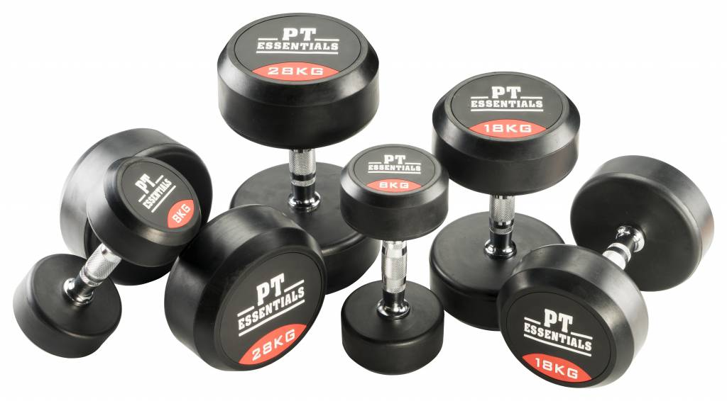 PTessentials PRO Ronde Rubberen Dumbbells | Set 1 t/m 10 kg