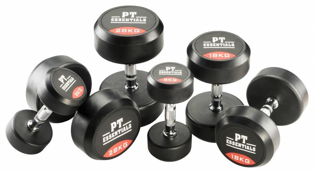 PTessentials PRO Ronde Rubberen Dumbbells | Set 2 t/m 20 kg