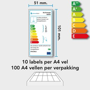 Diamondlabels 101 x 51 mm. permanent A4 vellen (100 vel) voor EU energielabels