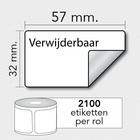 Diamondlabels Diamondlabels DTD09R papier Eco 57x32mm K25 2100p/r Rem