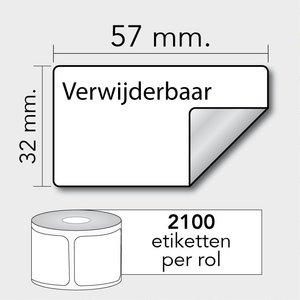 Diamondlabels Diamondlabels thermisch direct DTD09R papier Eco 57x32mm Kern 25mm 2100 per rol verwijderbaar