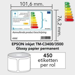 Diamondlabels 101,6 mm. x 76,2 mm. 450 inkjet labels permanente lijm & glossy etiketten