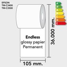 Diamondlabels 105mm. x 36 m. permanent glossy inkjet endless EU energielabels