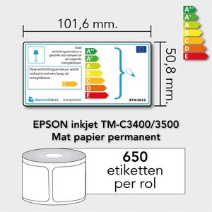 Diamondlabels 101,6 mm. x 50,8 mm. 650 inkjet labels permanente lijm & matte etiketten EU energielabel