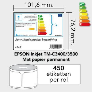 Diamondlabels 101,6 mm. x 76,2 mm. 450 inkjet EU energielabels permanente lijm & matte etiketten
