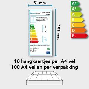 Diamondlabels 101 x 51 mm. Hangkaartjes A4 vellen (100 vel) voor EU energielabels