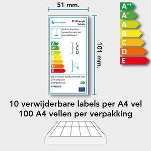 Diamondlabels 101 x 51 mm. verwijderbaar A4 vellen (100 vel) voor EU energielabels