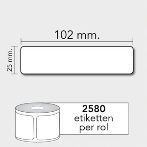 Diamondlabels TD 102x25 mm. 2580 per rol kern:25mm Zebra etiketten 800264-105