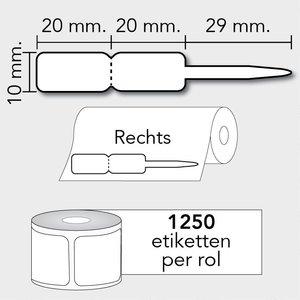 Diamondlabels TT 69x10mm. 1250 labels per rol. kunststof Juweliersetiketten Rechts.