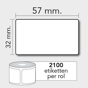Diamondlabels TD 57x32 mm. 2100 per rol kern:25mm Zebra etiketten 800262-125