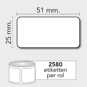 Diamondlabels Diamondlabels thermisch direct DTD09 papier Eco 51x25mm Kern 25mm 2580 per rol