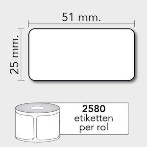 Diamondlabels TD 51x25 mm. 2580 per rol kern: 25mm Zebra etiketten