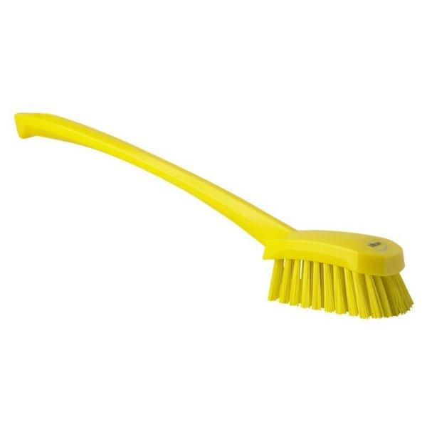 Vikan afwasborstel met lange steel, hard, geel