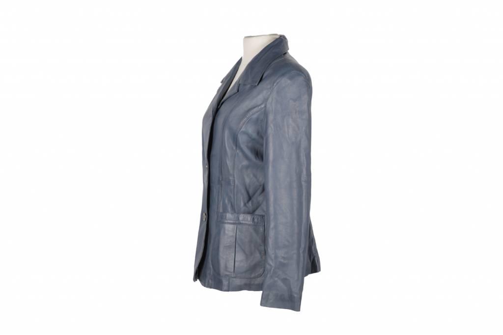 Carlo Sacchi Leren jas Dames Blazer Blauw Makh