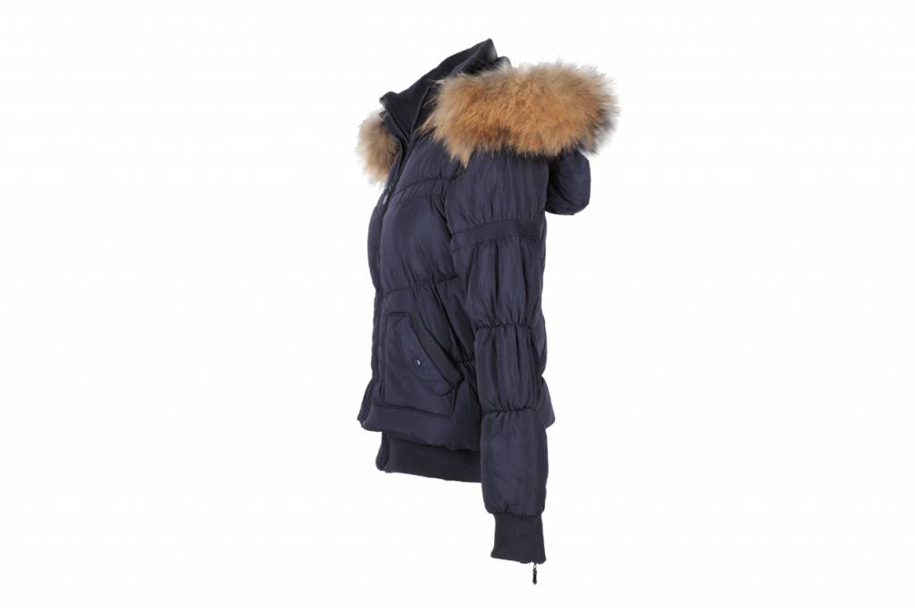 Adrexx Dames winterjas met Bontkraag Zwart L23