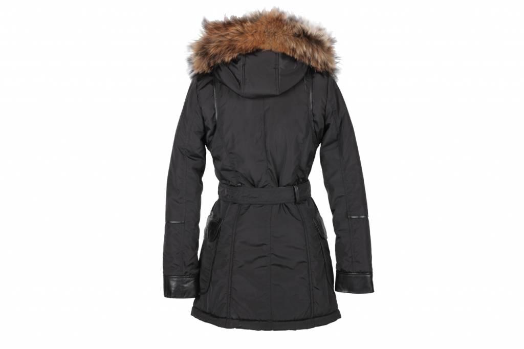 Adrexx Dames winterjas met Bontkraag Zwart Betty Lang.