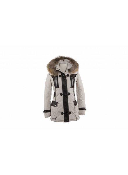 Feronetti Milano Dames winterjas met Bontkraag Beige HT Trend.