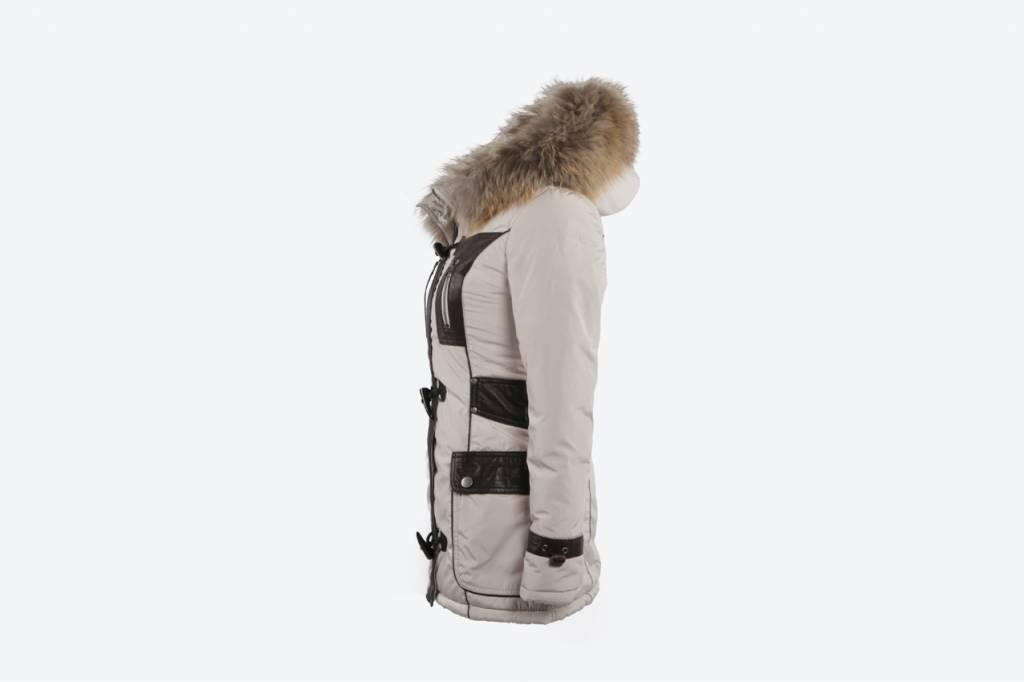 Milan Ferronetti Dames winterjas met Bontkraag Beige HT Trend.