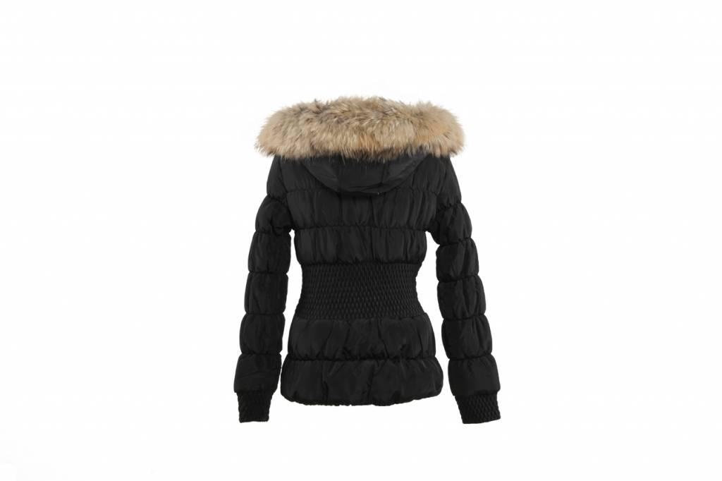 Adrexx Dames winterjas met Bontkraag Zwart Angela Kort