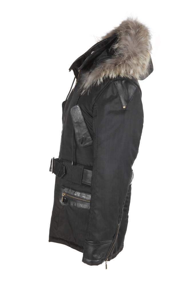 Carlo Sacchi Heren winterjas met Bontkraag Zwart H&S