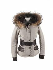 Feronetti Milano Dames winterjas met bontkraag betty kort beige