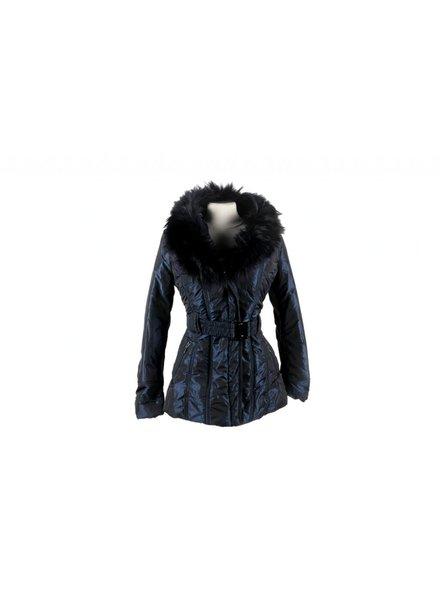 Milan Ferronetti Dames winterjas met Bontkraag Blauw Mode 1