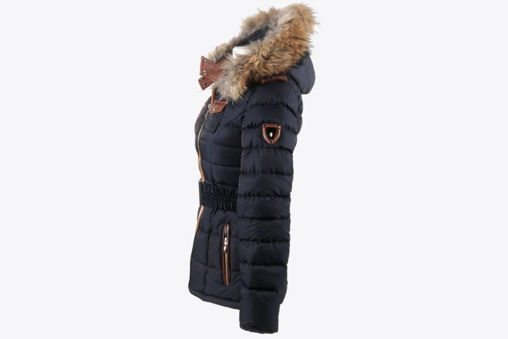 Feronetti Milano Dames winterjas met Bontkraag Blauw REB