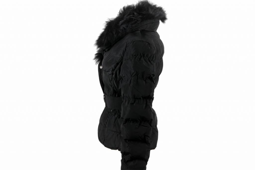 Dames winterjas met Bontkraag M602 zwart