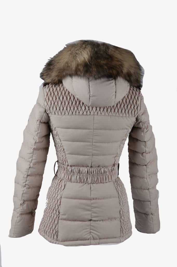 Feronetti Milano Dames winterjas met  Bontkraag Beige REB MeM.