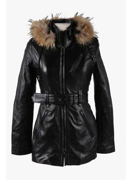 Carlo Sacchi Dames winter Leren jas met bontkraag Nina lang 2