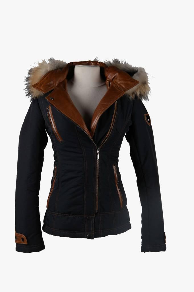 Feronetti Milano Dames winterjas met Bontkraag Blauw Bella.