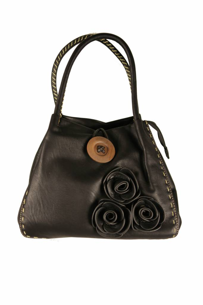 Dames tas zwart met bloemetjes B18