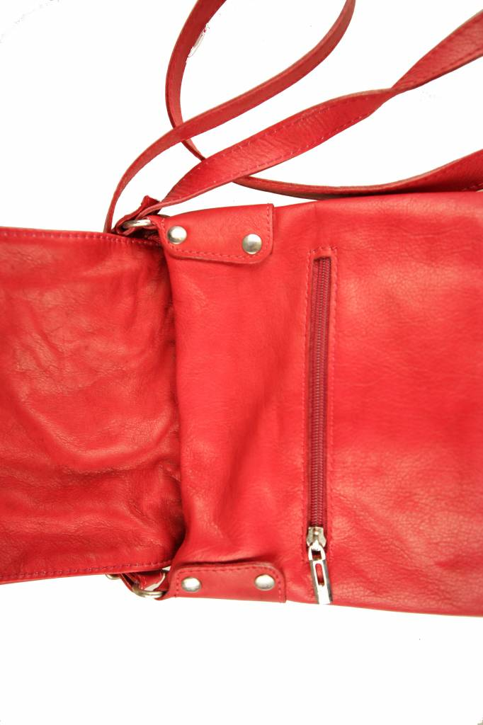 Dames leren tas rood B04
