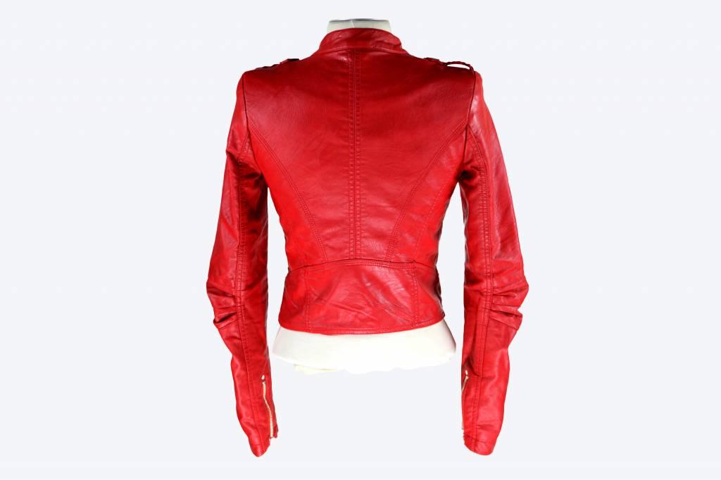 Dames imitatieleren jas Toxik3 rood