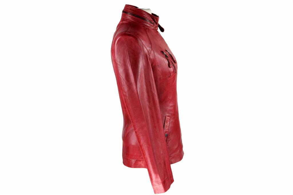Dames Leren jas AK17 rood