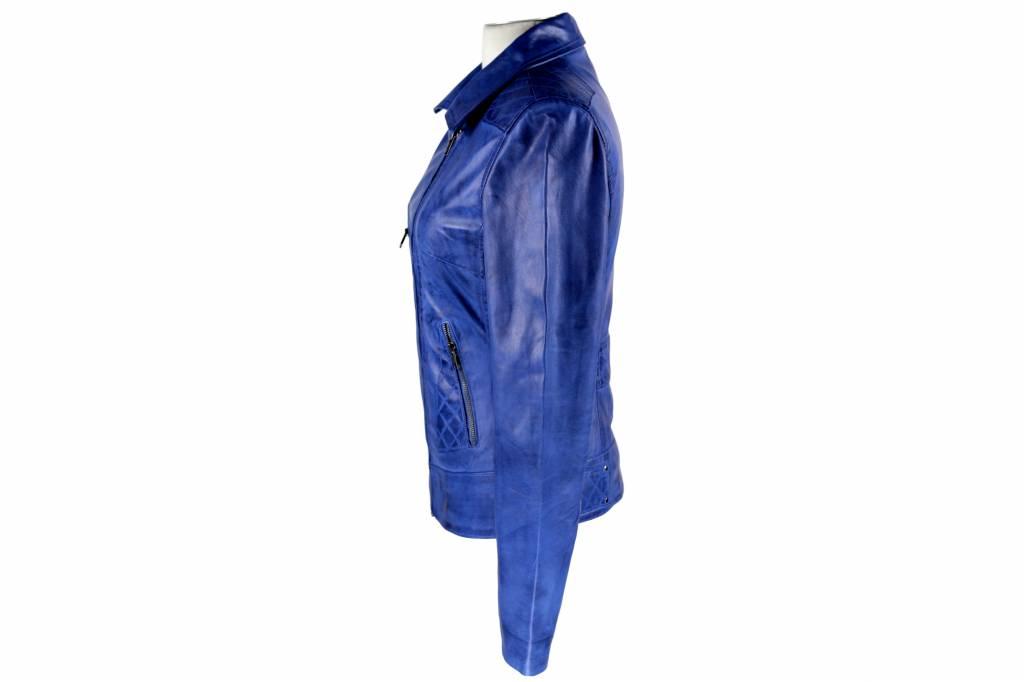 Carlo sachi Dames Leren jas Jane 4 aqua blauw