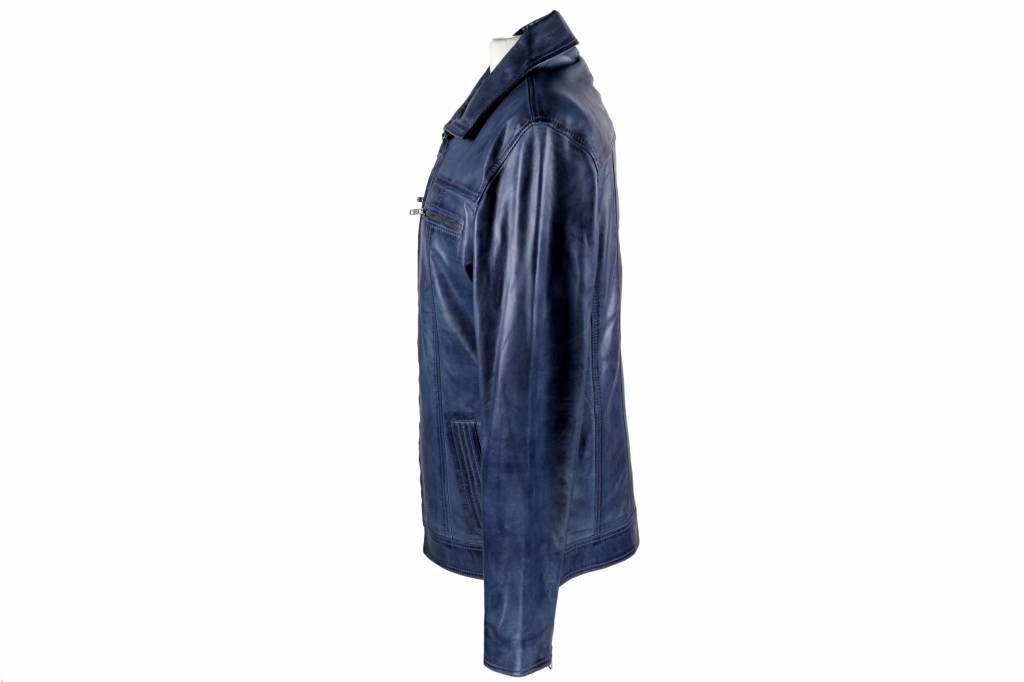 Heren Leren jas DA004 blauw tmbr