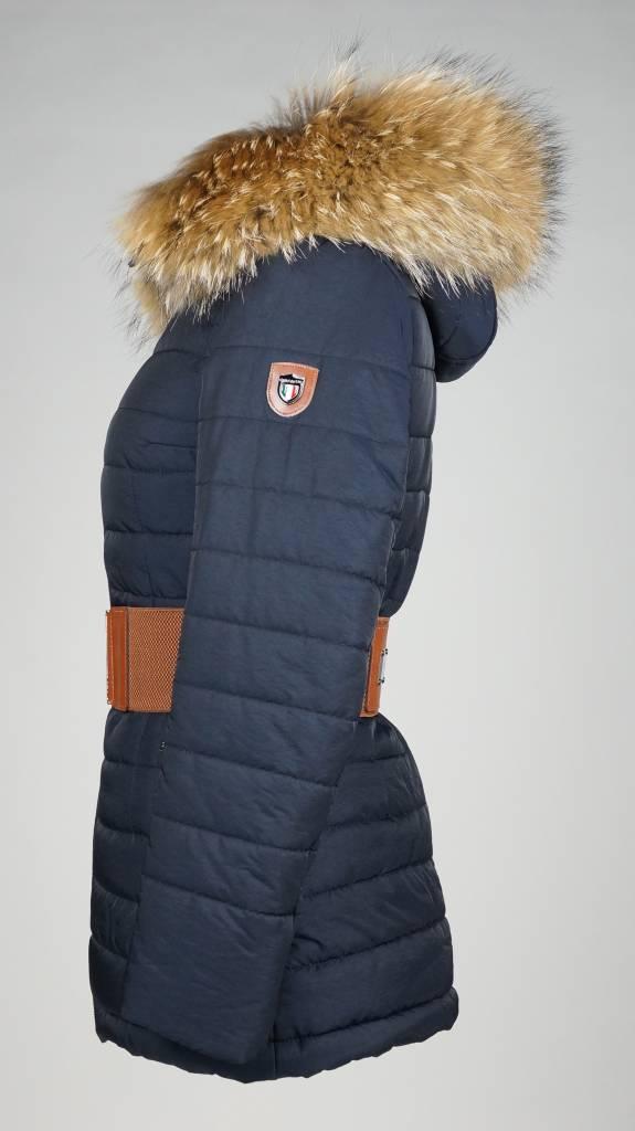 Carlo Sacchi Dames winterjas  met Bontkraag 2063 blauw