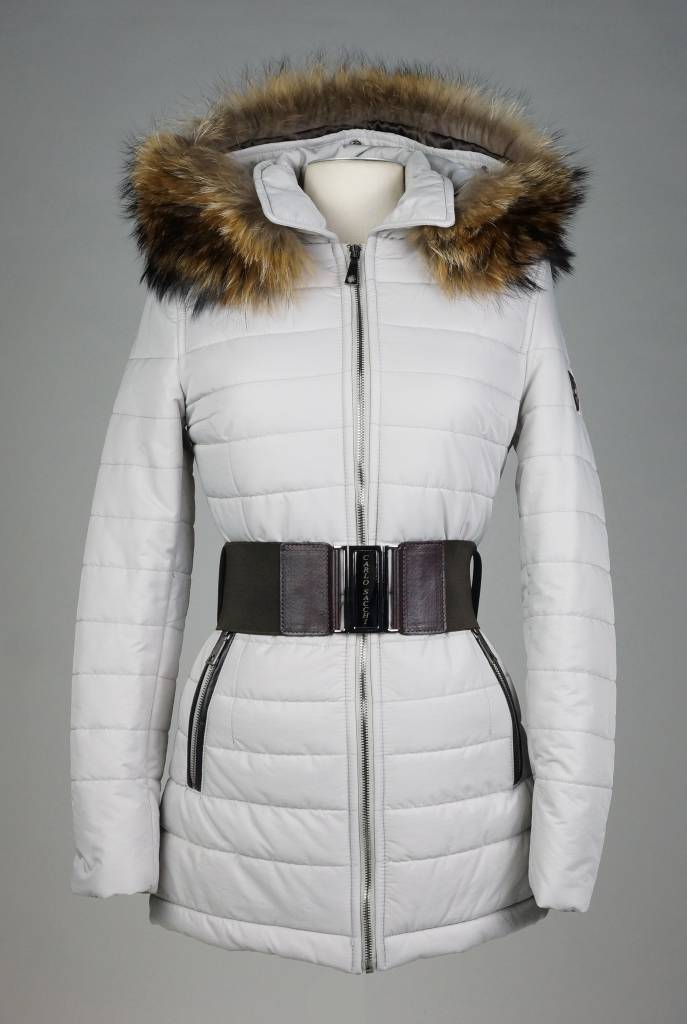 Carlo Sacchi Dames winterjas met Bontkraag 2063 grijs