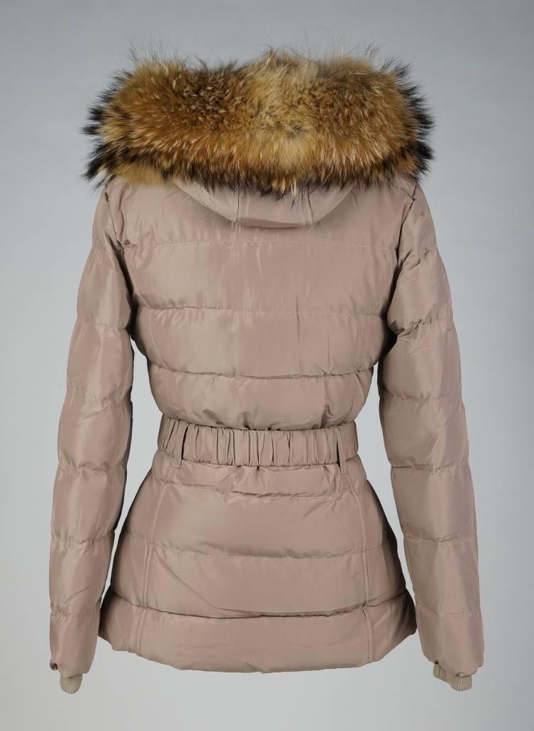 Adrexx Dames winterjas met Bontkraag LC2115 beige.