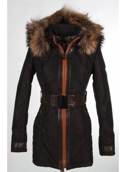 Milan Ferronetti Dames winterjas met Bontkraag Model 1 zwart.