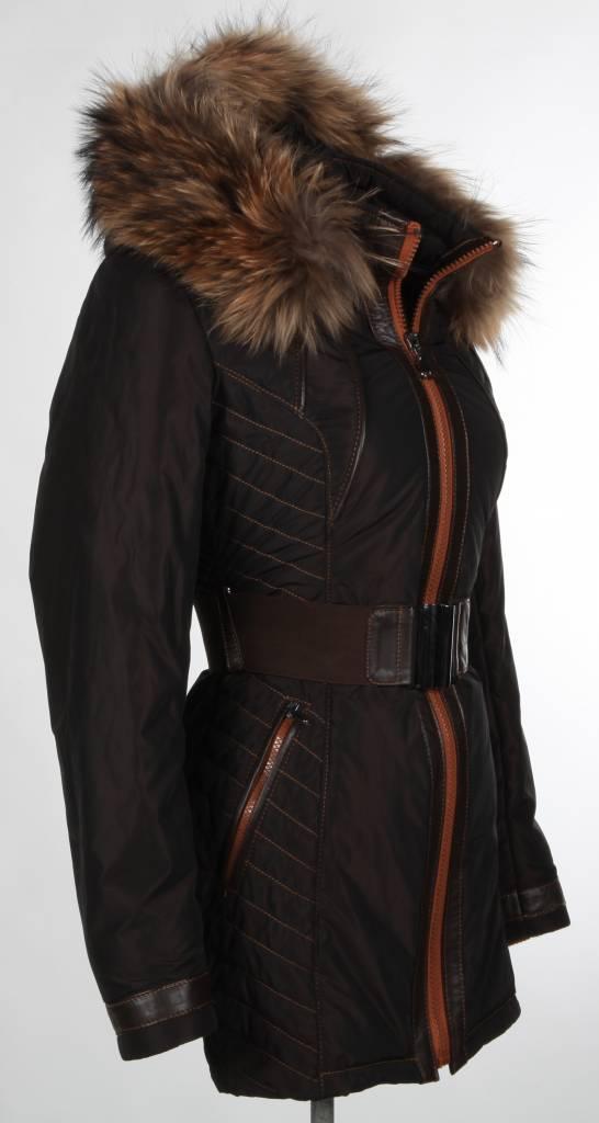 Milan Ferronetti Dames winterjas met Bontkraag Model 1 zwart