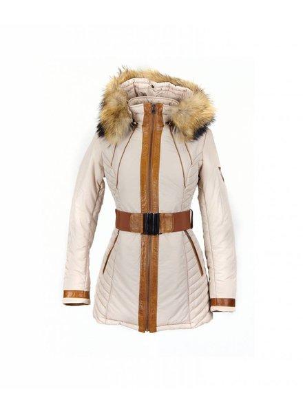 Milan Ferronetti Dames winterjas  met Bontkraag Fericca beige