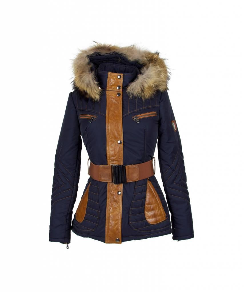 Milan Ferronetti Dames winterjas met Bontkraag Model Elya blauw
