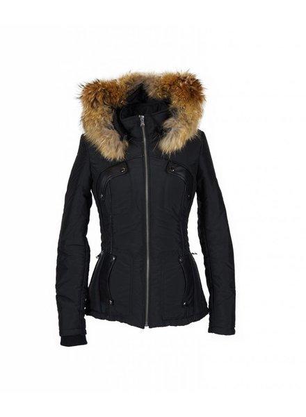 Feronetti Milano Dames winterjas met Bontkraag vera zwart