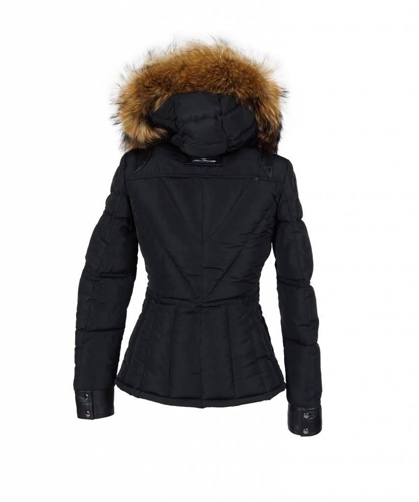 Feronetti Milano Dames winterjas met Bontkraag model Milla zwart