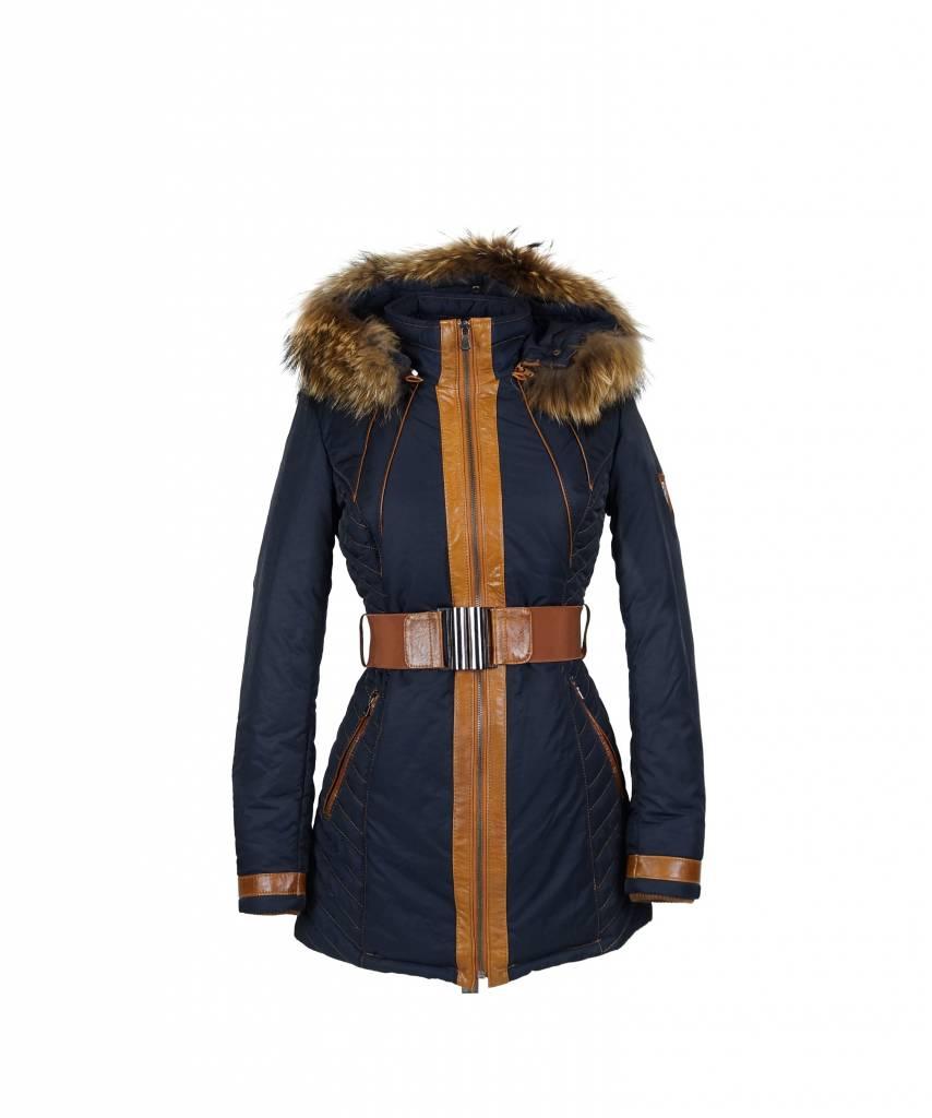 Milan Ferronetti Dames winterjas met Bontkraag Fericca blauw