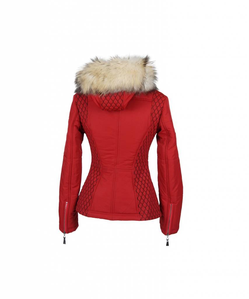 Carlo sachi Dames winterjas met Bontkraag 66 rood