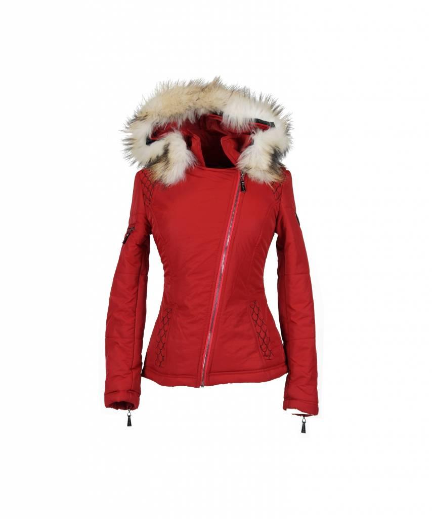 Carlo Sacchi Dames winterjas met Bontkraag 66 rood